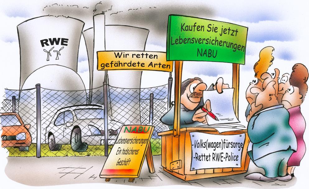 Artenschutz 3.0 beim Nabu: Jetzt rettet er VW und RWE. (Zeichnung: hsb-cartoon.de, Heinrich Schulze-Blanke)