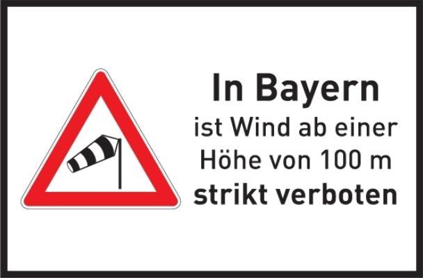 Gilt vorsorglich zur Abwehr hoher Windräder: die 100M-Regelung. Sie verbietet Winde ab 100 Metern Höhe. (Grafik: © Windkraftsatire)