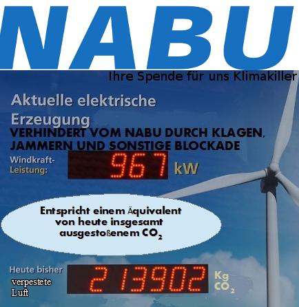 """Killer-Bilanz: Der Nabu wird mit eigenen Displays auf seine Rekorde bei der Luftverschmutzung hinweisen. Durch erfolgreich verhinderte CO2-Einsparung trägt der Nabu künftig offiziell den Öko-Warnhinweis """"Ihre Spende für uns Klimakiller"""". (Foto: © Windkraft Satire)"""