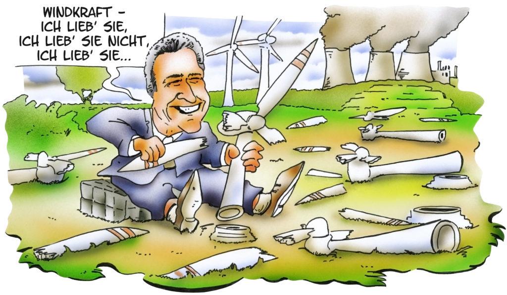 """Karikatur mit NRW-Minister Andreas Pinkwart, der Rotorblätter von kleinen Windrädern reißt. Dabei sagt er: """"Windkraft - ich liebe sie, ich liebe sie nicht, ich liebe sie..."""""""